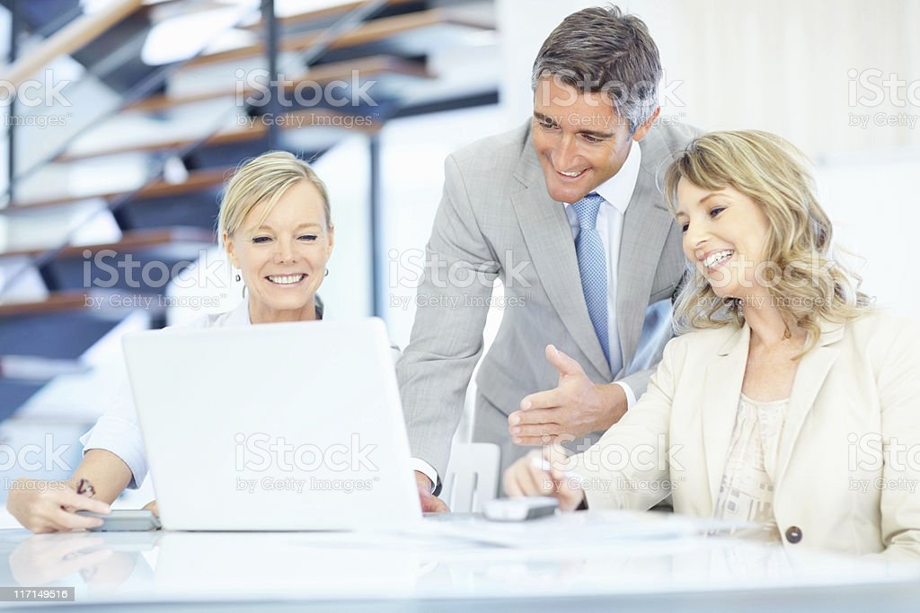Group of colleagues having discussion royalty-free stock photo