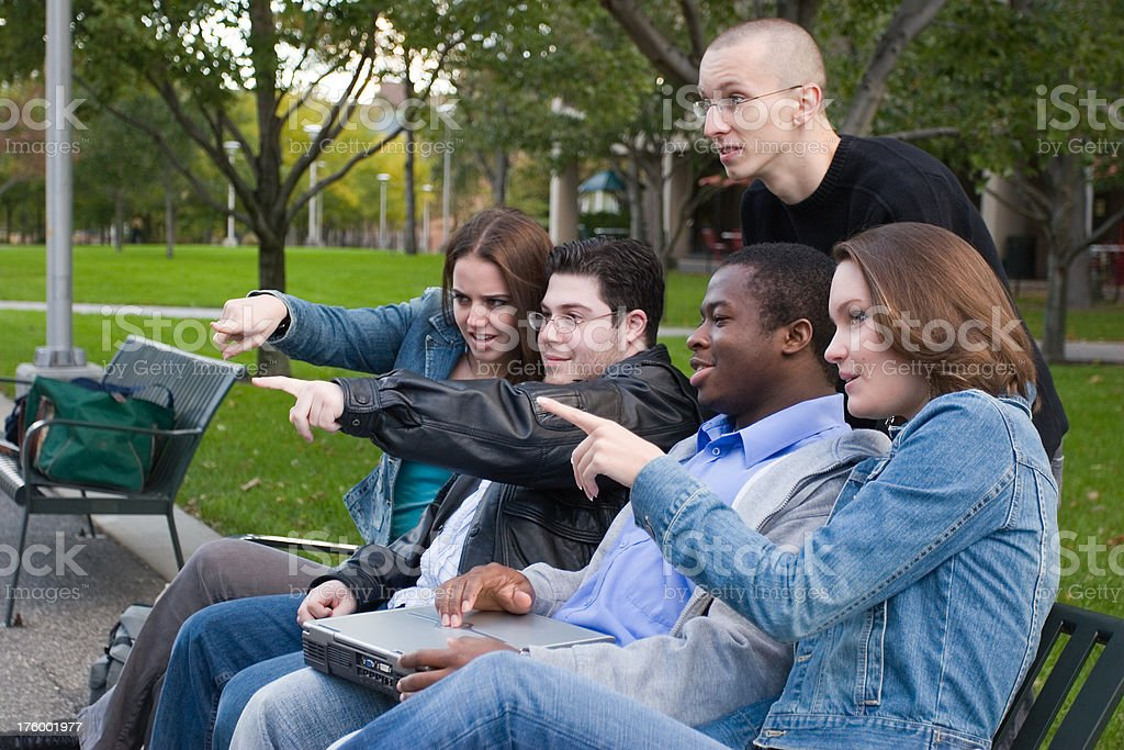 Group of college friends stock photo