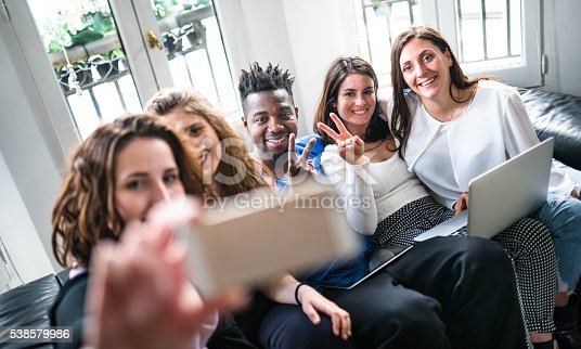 861023492istockphoto Group of college student take a selfie on the apartment 538579986