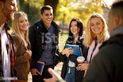 Group of college students on university campus