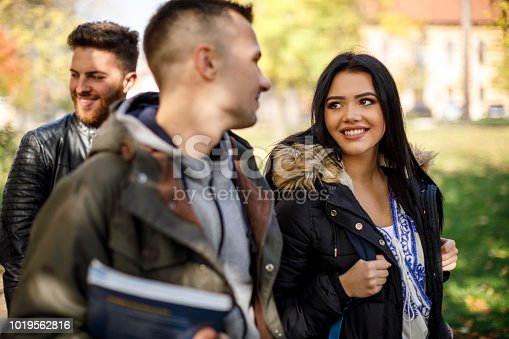 824257318 istock photo Group of college students walking on university campus 1019562816