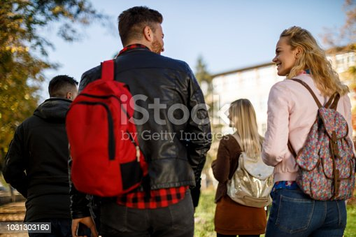 istock Group of college students walking on university campus 1031303160