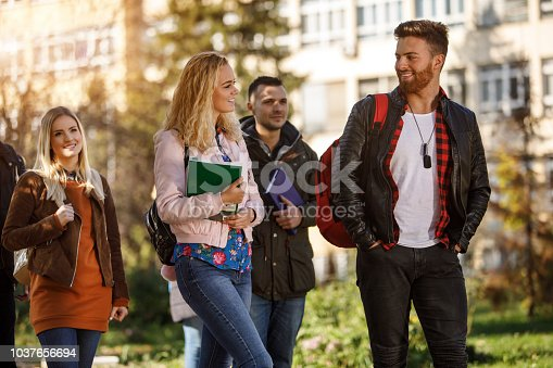 824257318 istock photo Group of college students walking on university campus 1037656694