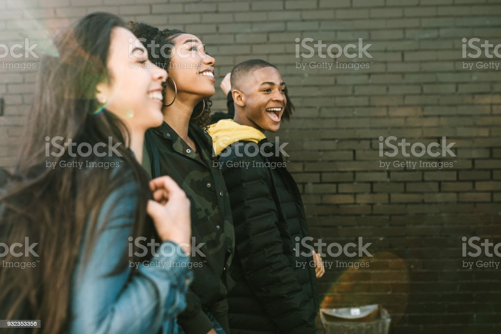 Group of College Students Walking To Class stock photo