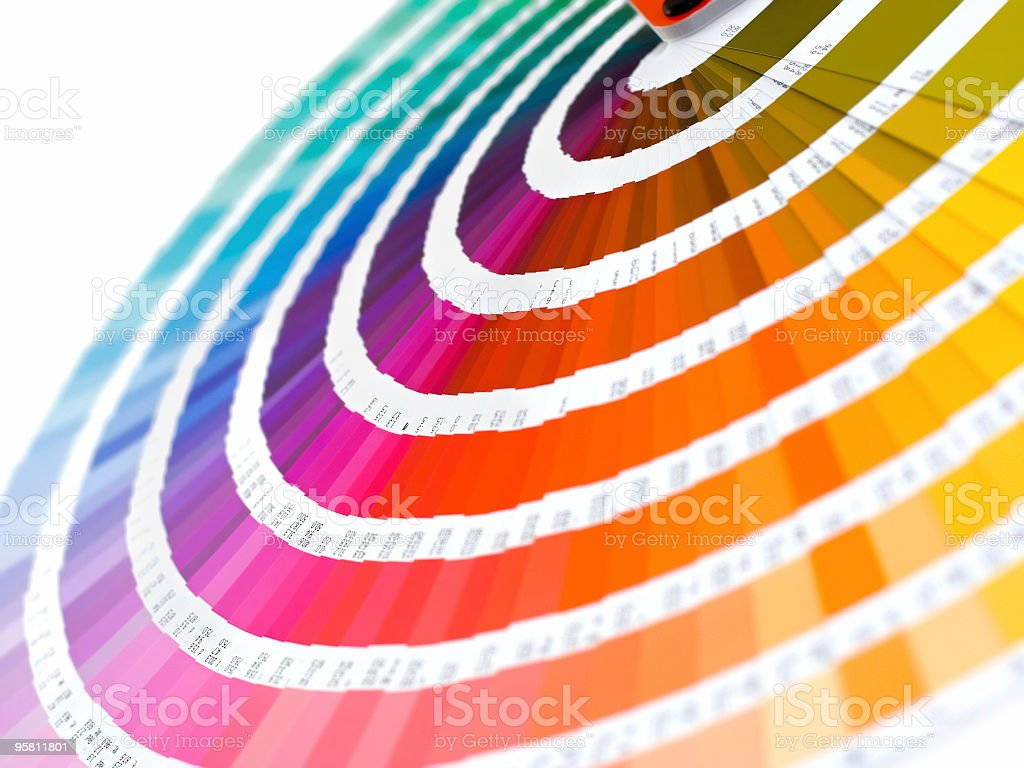 Group of color card spread out into rainbow stock photo