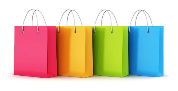 Grupo de sacos de compras de papel de cor - foto de acervo
