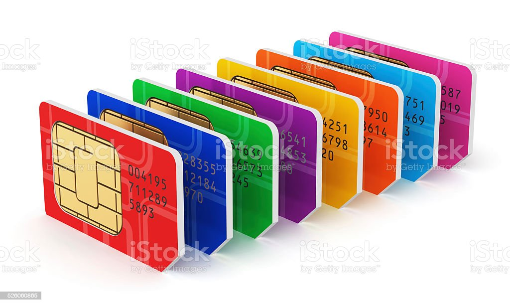 Group of color SIM cards stock photo