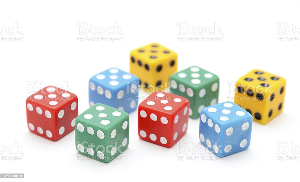 Group of Colored Dice on White Background royalty-free stock photo