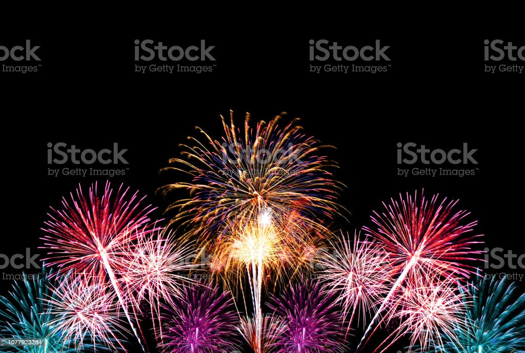 Group of colorful fireworks on dark background. Group of colorful fireworks on dark background for celebration background. Celebration Stock Photo