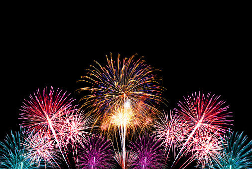 Group Of Colorful Fireworks On Dark Background Stock Photo - Download Image Now