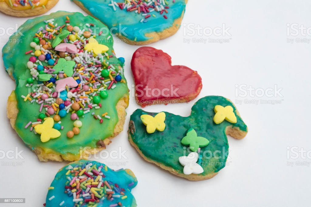 Group Of Colorful Homemade Christmas Cookies And Biscuits In Isolated White Background Stock Photo More Pictures Of Backgrounds