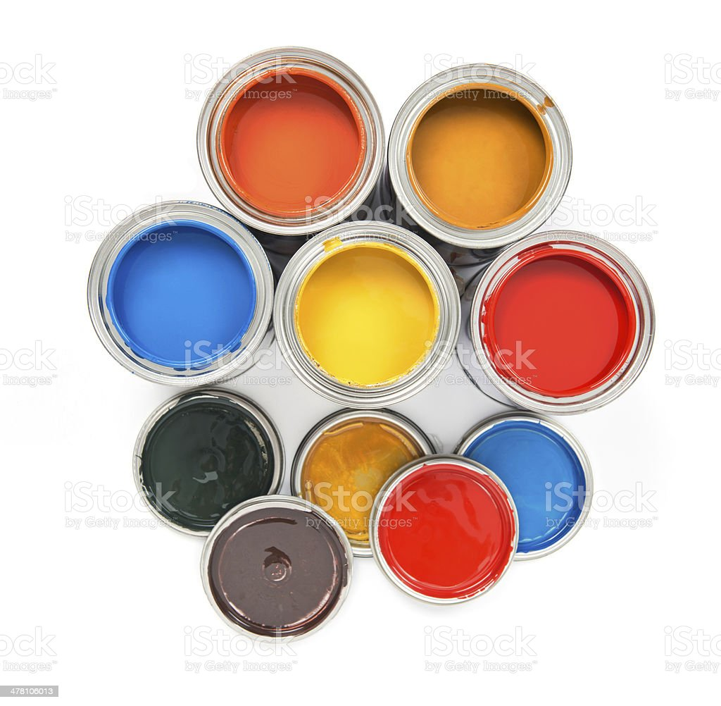 Group of colorful paint tins royalty-free stock photo