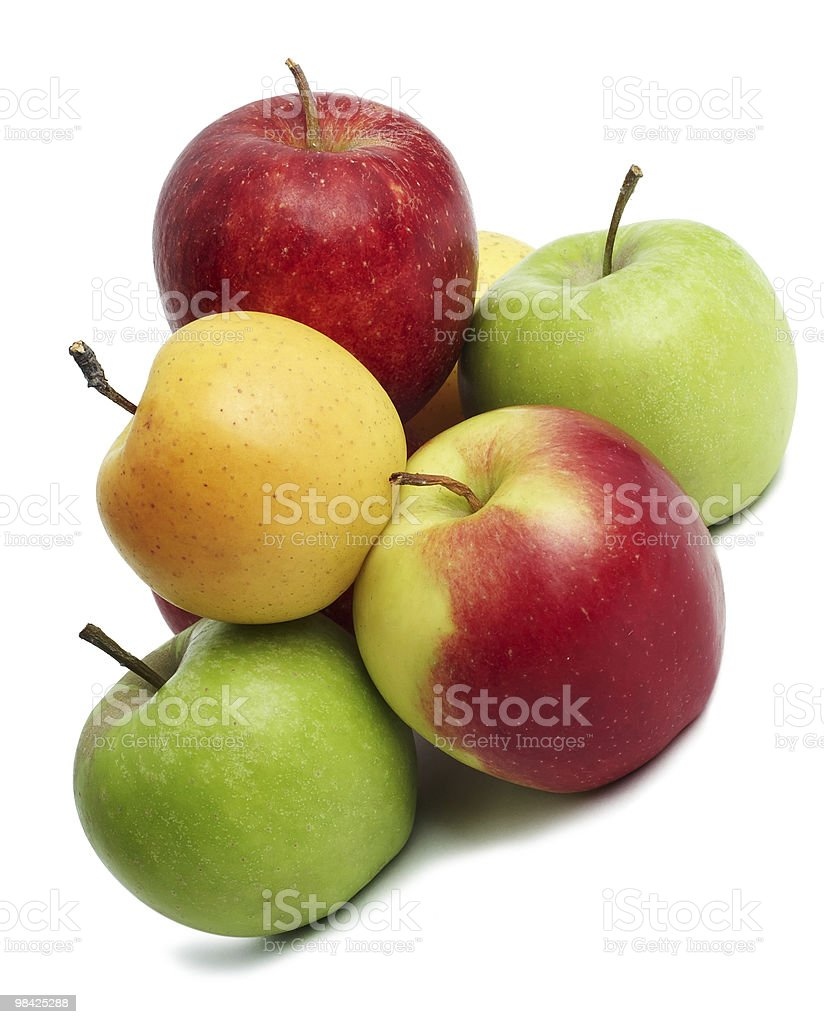 group of coloured fresh apples royalty-free stock photo