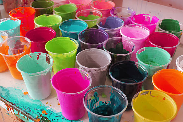 Group Of Colourful Paint Cups stock photo