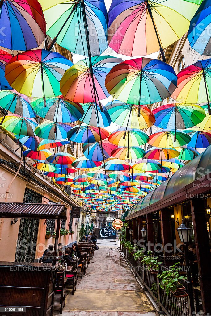 Group of Colourful Umbrellas in Narrow Street, Bucharest, Romania – Foto