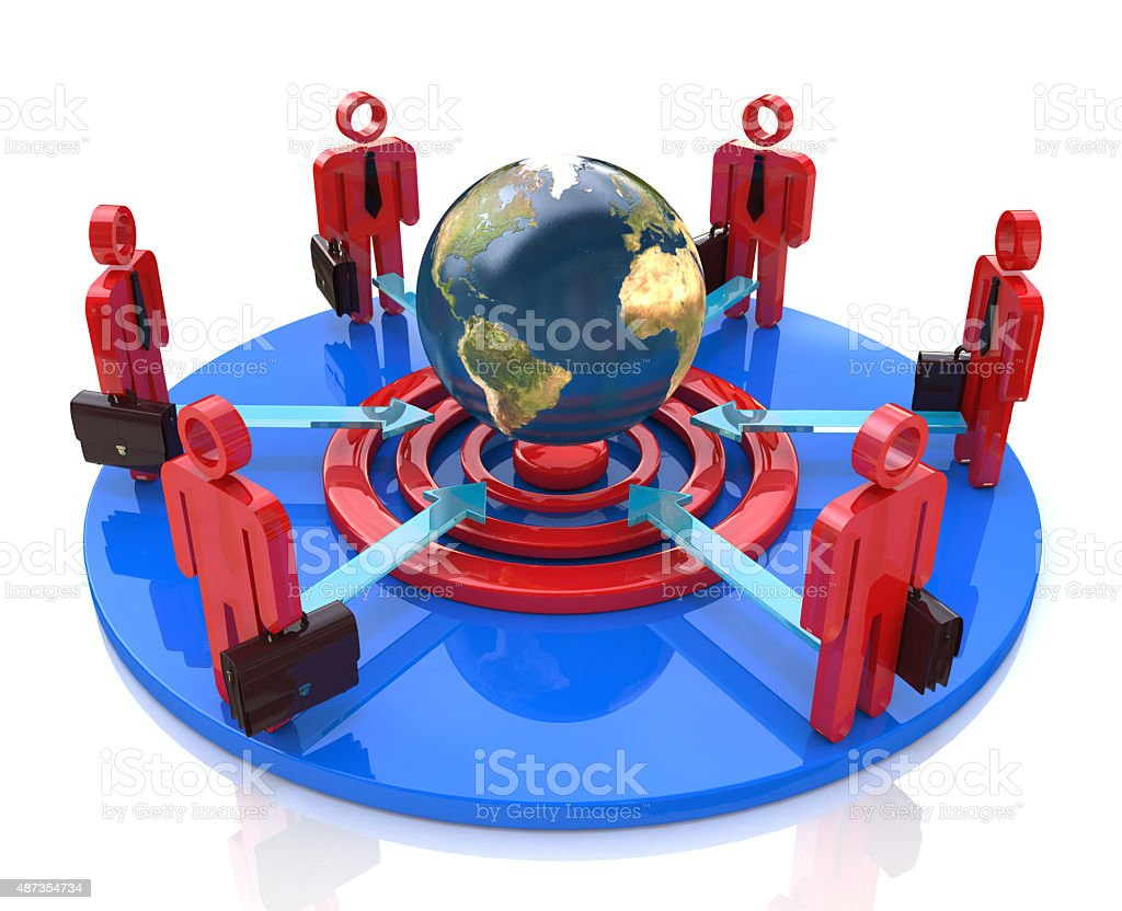 group of competitors in a circle aiming stock photo