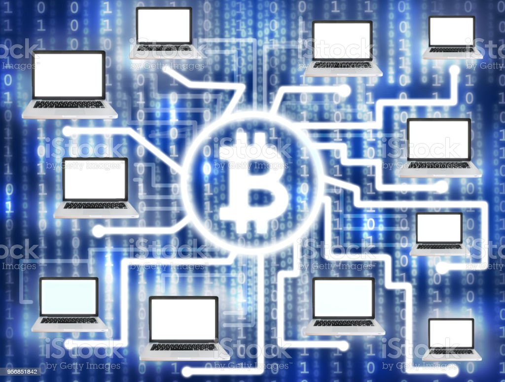 Group of computers generating bitcoins stock photo