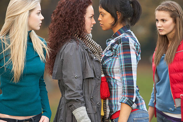 Group Of Confrontational Teenager Girls Group Of Confrontational Teenager Girls Having Dispute in Park confrontation stock pictures, royalty-free photos & images