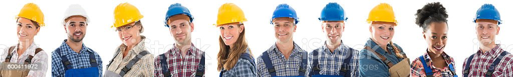 Group Of Construction Workers In A Row stock photo