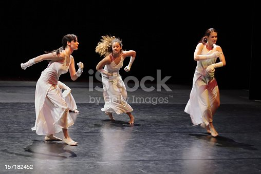 istock Group of contemporary dancers performing on stage. 157182452