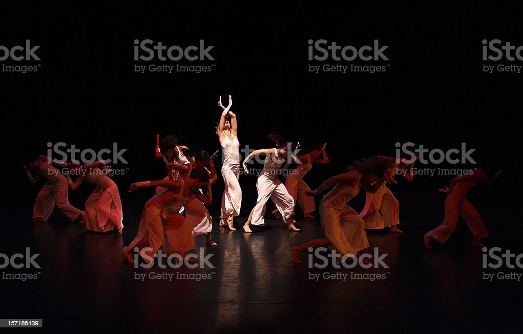 Group of contemporary dancers performing on stage bildbanksfoto