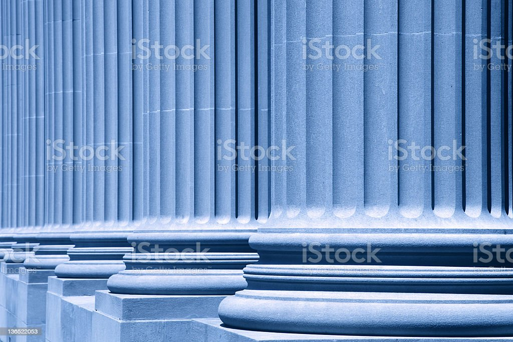 group of corporate blue business columns royalty-free stock photo