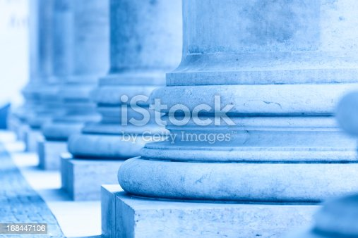 XXXL - wonderful columns in front of the new york city court house - blue filter treatment - shallow depth of field - focus at first column