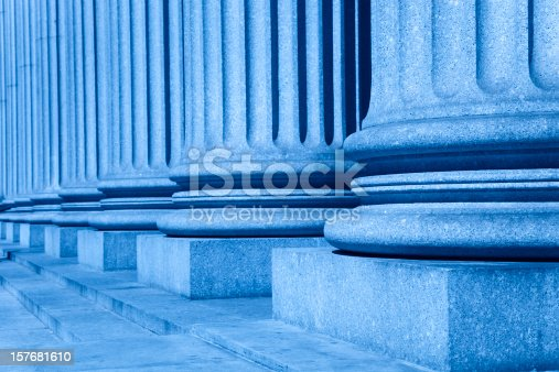 istock group of corporate blue business columns with steps 157681610