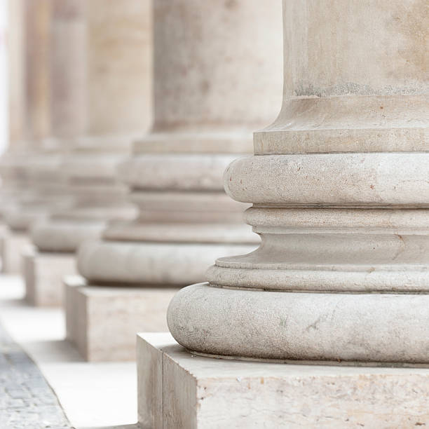 group of corporate business columns pure columns in front of the new york city court house  shallow depth of field - focus at first column  neo classical stock pictures, royalty-free photos & images