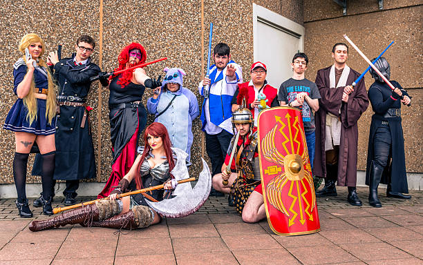 group of cosplayers at yorkshire cosplay convention - manga style stock photos and pictures