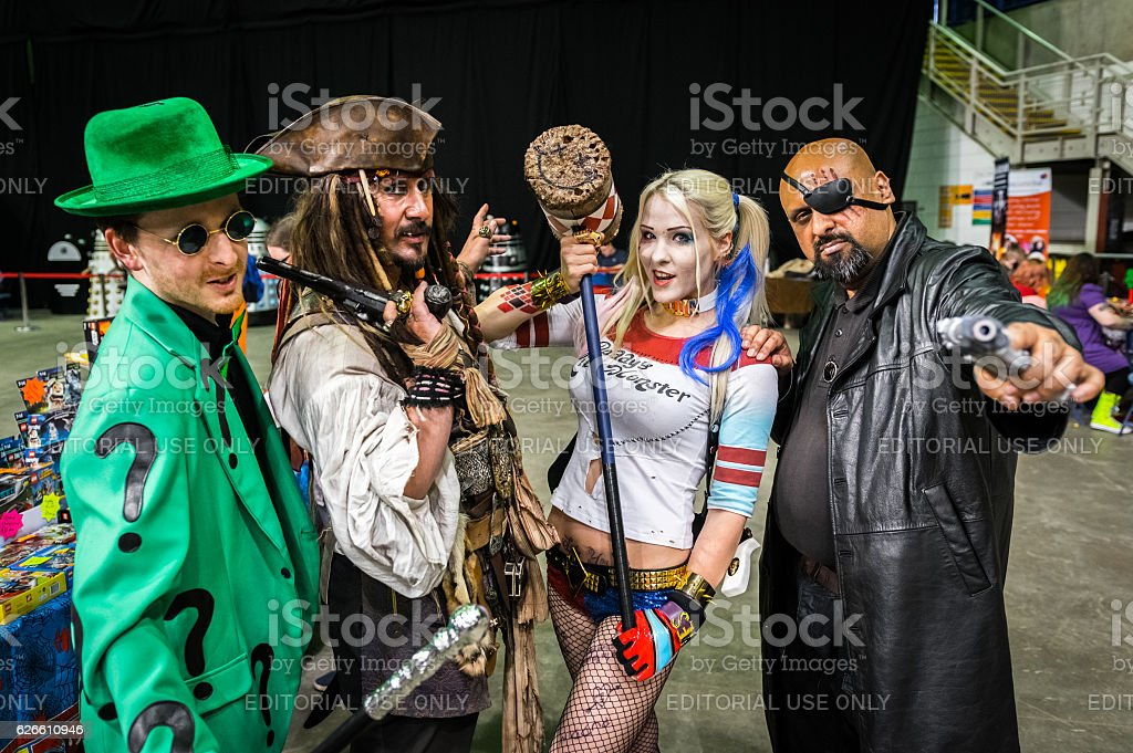 Group of cosplayers at Yorkshire Cosplay Convention - foto stock