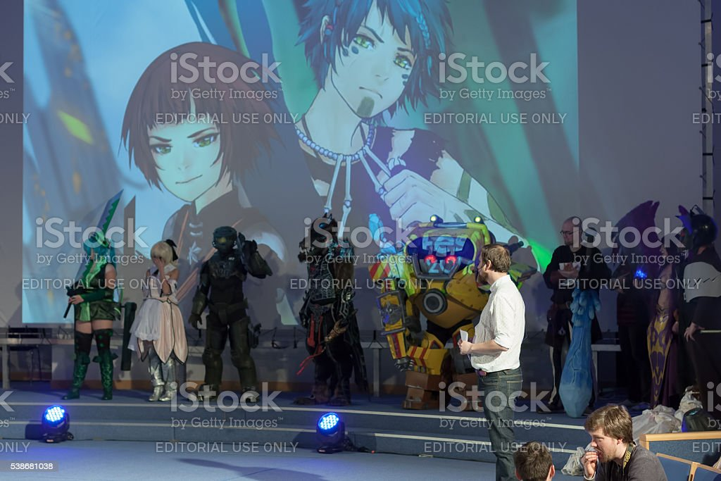 Group of cosplayers during cosplay contest  at Animefest, stock photo