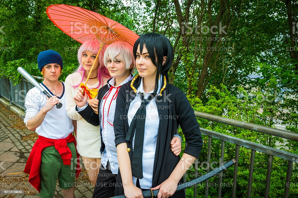 Group of cosplayers posing at Yorkshire Cosplay Convention stock photo