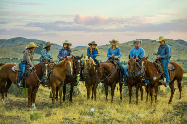 Group of Cowboys and Cowgirls stock photo