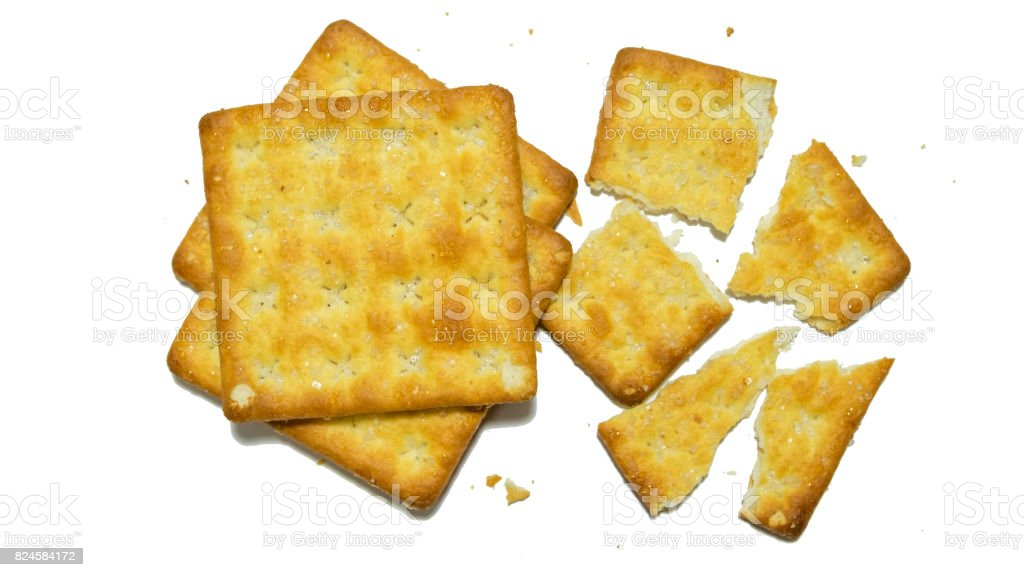 Group of crackers included pile of cracker and broken in pieces of them stock photo