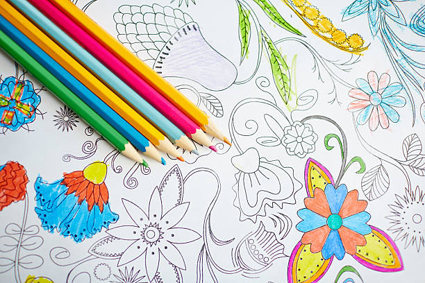 group of crayons - colouring book stock photos and pictures
