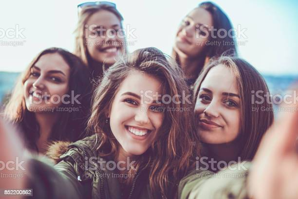 Group of crazy girls taking selfie and making faces outdoors picture id852200862?b=1&k=6&m=852200862&s=612x612&h=ba b2bfvtu omb606oacpzjv vkkr4h4s3w0kqvhd4i=