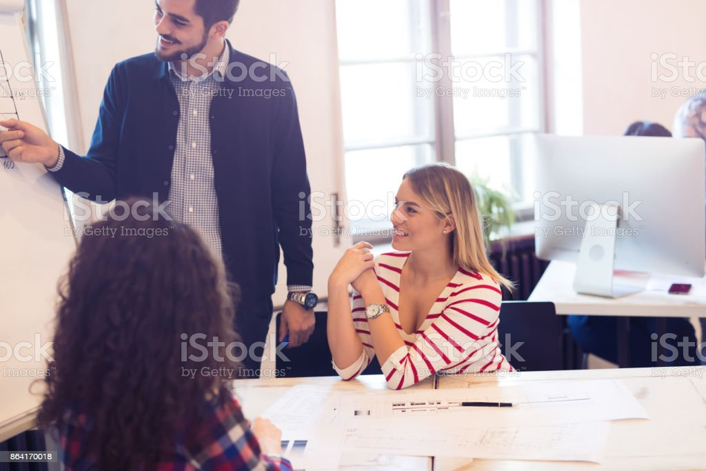 Group of creative designers and office coworkers working on project royalty-free stock photo