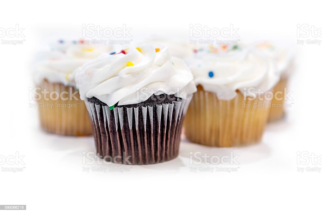 Group of cupcakes on a white background stock photo