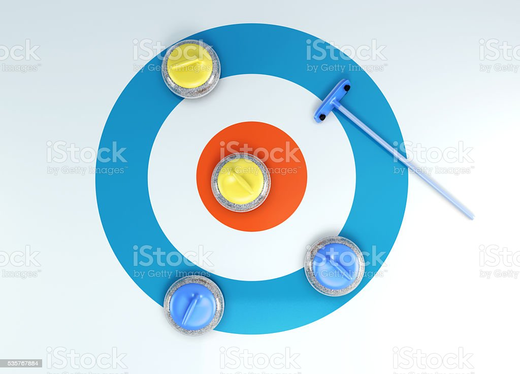 Group of curling stones top view of the ice shuffleboard. stock photo
