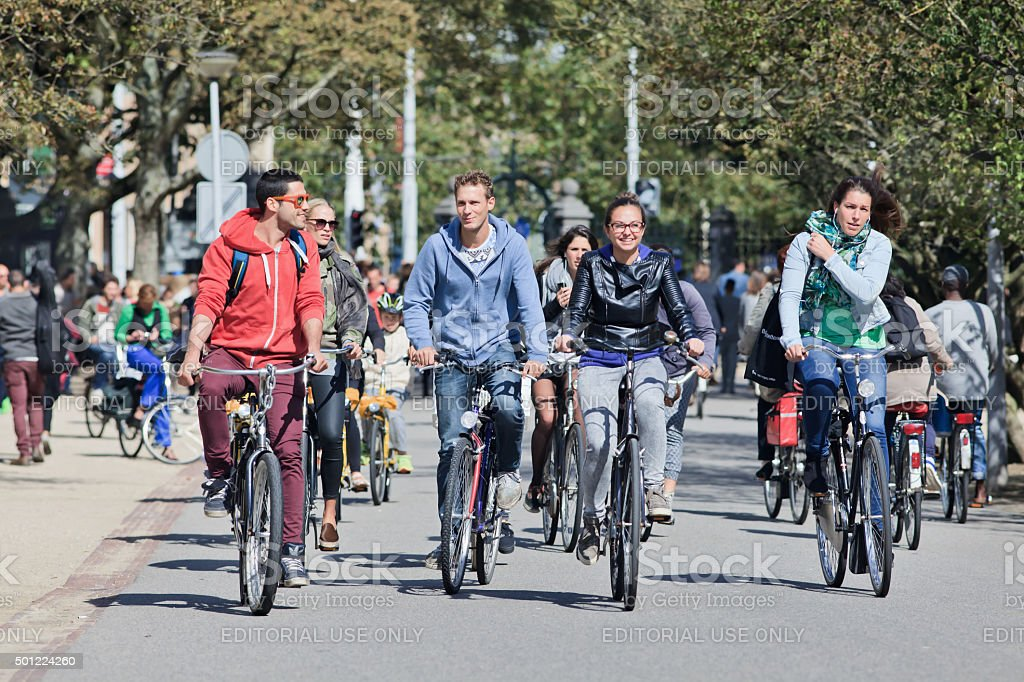 Group of cyclists have fun in the Vondelpark, Amsterdam stock photo