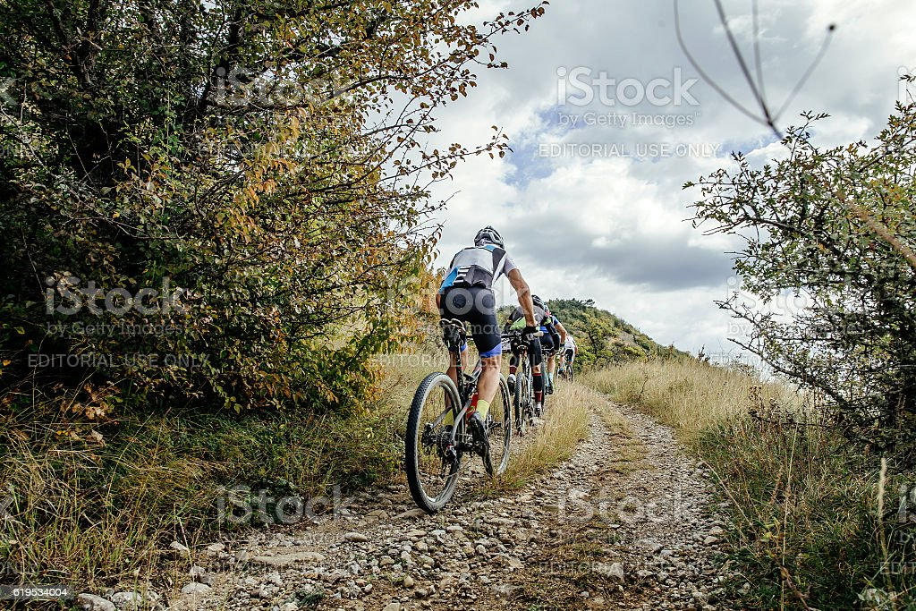 group of cyclists on sports mountainbike stock photo