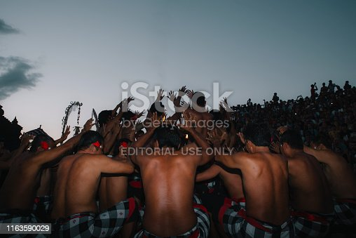 Bali, Indonesia - May 23, 2017: Group of Dancer Performing Traditional Kecak Dance in Uluwatu, Bali
