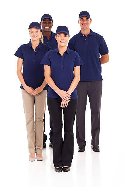 group of delivery service staff stock photo