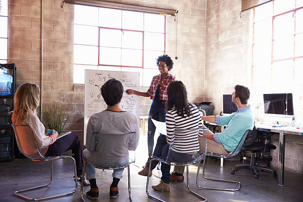 Group Of Designers Having Brainstorming Session In Office Group Of Designers Having Brainstorming Session In Office market research stock pictures, royalty-free photos & images