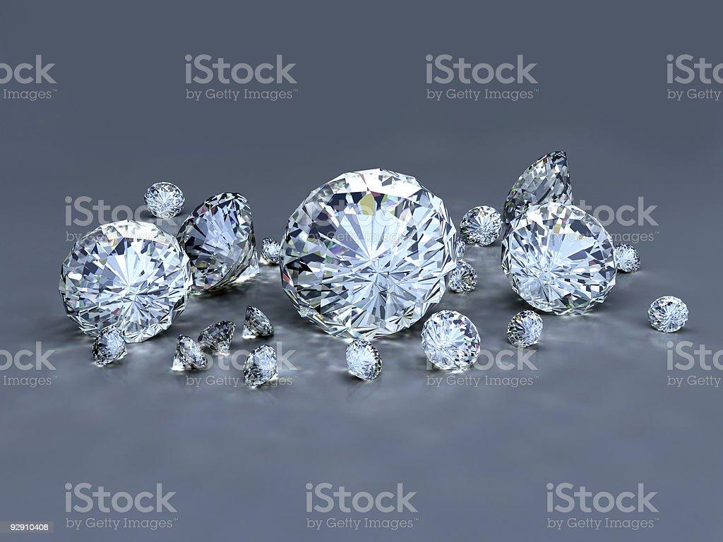 Group of Diamond on blue royalty-free stock photo