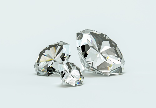 Group of diamonds on a white background 3d Illustration