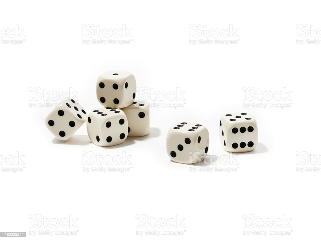 Group of dice, isolated on white background (XL) stock photo