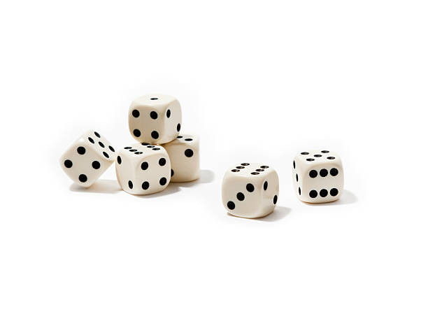 group of dice, isolated on white background (xl) - dobbelsteen stockfoto's en -beelden