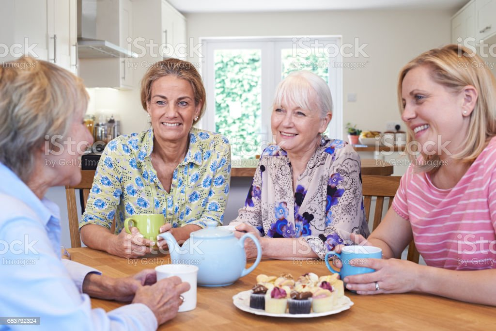 Group Of Different Aged Female Friends Meeting At Home stock photo